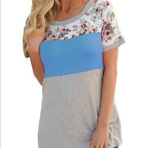 Tops - Summer Short Sleeve Floral Top; XL